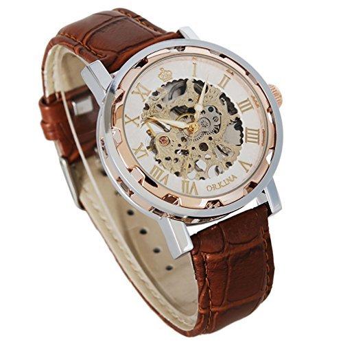GuTe Steampunk Herrenarmbanduhr, mechanische Armbanduhr, römische Zahlen, braunes -