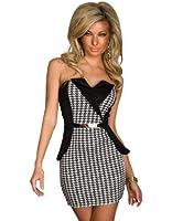 5266 Fashion4Young Damen Trägerloses Minikleid dress Kleid Abendkleid Gr. 36/38 Schwarz Weiß