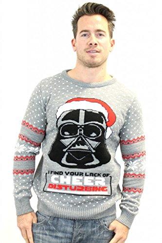 Prodotto ufficiale Star Wars Darth Vader Christmas Jumper/maglione Grey XL