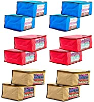 Amazon Brand - Solimo 12 Piece Non Woven Fabric Saree Cover Set with Transparent Window, Large, Pink, Blue and