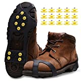 Ice Snow Grips,Anti Slip Winter Ice Grippers Snow Traction Cleats Crampon Spikers Ice Traction Slip on Boots Shoes Cover Fit for Hiking Fishing Climbing with 15-Pack Spare Snow Spikes (Noir, M)