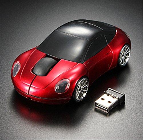 Interesting® Rote 3D drahtlose optische 2.4G stilvolle Auto geformte Maus Mäuse für PC Laptop