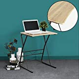 Portable Laptop Desk Computer Desk Coavas Wooden Writing Desk With Metal Legs for PC Laptop Overbed Studying Reading Table
