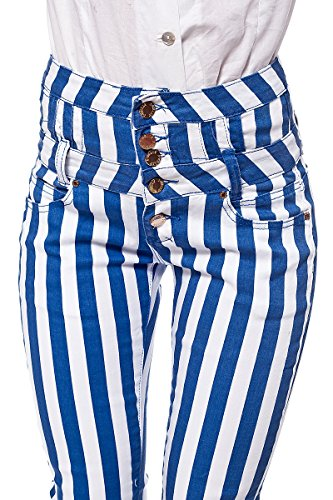 High Waisted Corsagen Röhrenhose Streifen Look (S, Blau-Weiß) (Streifen Welly)