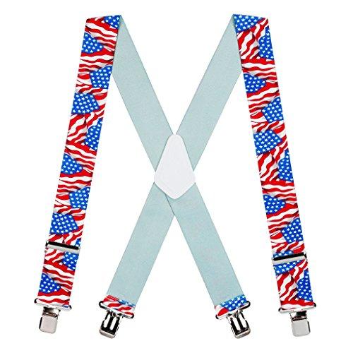 Suspender Store Herren Hosenträger amerikanische Flagge, 5 cm breit, Nickel-Clip - Schwarz - 152.4 cm Für 6'4