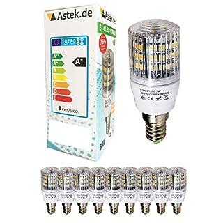 10er Pack E14 48 LED mit Schutzglas [ASTEK Z10] (280lm - Warm-Weiß - 48 SMD LED - 360º Abstrahlwinkel - E14 Sockel - 230V AC - 3,5W wie 25W - Ø31×63mm - 10 Stück) [Energieklasse A+]