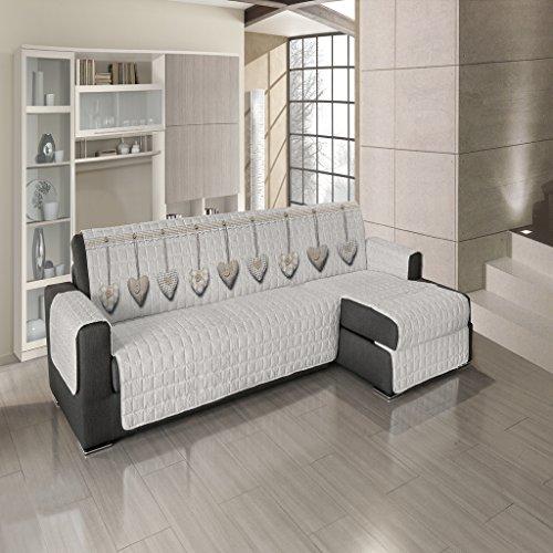 Biancheriaweb copridivano trapuntato per divani con penisola disegno cuore appeso 190-195 cm beige