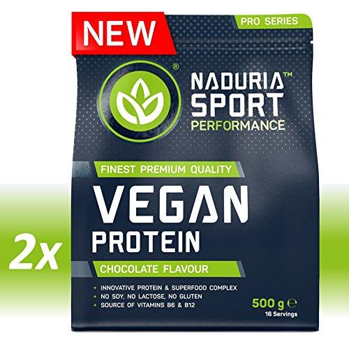 NADURIA SPORT Vegan Protein-Shake Schoko   1kg (2 x 500g)   Mit Erbsen-, Kürbiskern-, Sonnenblumen- und Reisprotein   Inkl. Superfoods