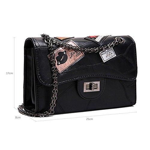 11e5ab08adfb8 ... PU-Handtaschen Persönlichkeit Mode Abzeichen Kette Kette Umhängetasche  Messenger Bag Umschlag Tasche kleine quadratische Paket