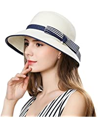 466384198d5 Siggi Womens UPF 50+ Packable Summer Sun Straw Hat Wide Brim Foldable  Adjustable