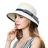 Womens Panama Straw Hat Wide Brim Foldable SPF 50 Ladies Sunhats Fashion Floppy Beach Hats Holiday Fedora Cloche Wedding Hat Crushable Soft Ivory White 55-58CM