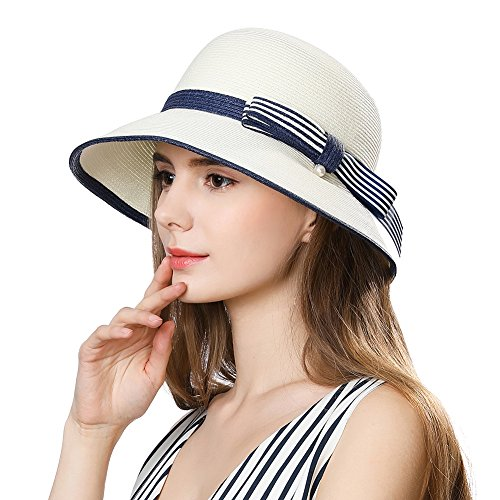 df561c34e95 Womens Panama Straw Hat Wide Brim Foldable SPF 50 Ladies Sunhats Fashion  Floppy Beach Hats Holiday