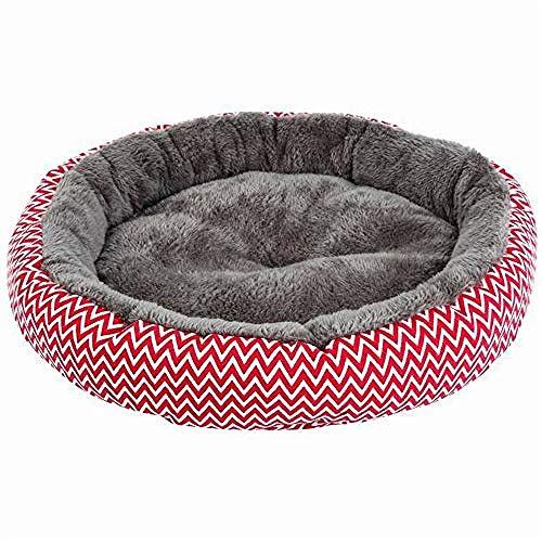 yhwygg Pet Dog Bed Red Round Pet Nest Super Soft Thickening KennelArctic VelvetWarm Cat LitterStain ResistantRound Nest34X10Cm -