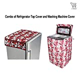 #8: E-Retailer™ Combo of Refrigerator Top Cover (With 6 Utility Pockets) And Top Load Washing Machine Cover (Color:- Pink,Suitable For 6 KG to 8 KG )
