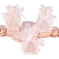 100pcs Cajas de Caramelos Boda Bautizo Bombones Galletas Chuches Peladillas Regalo Recuerdo Cumpleaños en patrón de ángel con Cinta (Rosa)