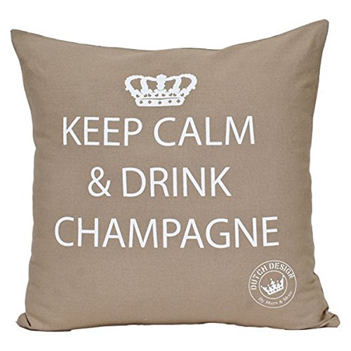 Mars & More - Kissen Keep Calm & Drink Champagne 100% Baumwolle - Sand - 45 x 10 x 45 cm -