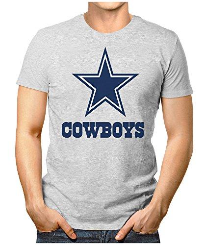 PRILANO Herren Fun T-Shirt - DALLAS-COWBOYS - 4XL - Grau Meliert