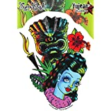 "Sunny Buick - Retro Hula Girl Leilani Tiki Tattoo Pinup PIN-UP autocollant Sticker Decal - 4 1/2"" W x 6"" H Die-Cut - Weather Resistant, Long Lasting for Any Surface"