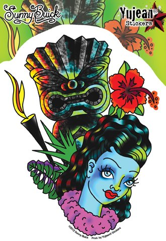 "Sunny Buick - Retro Hula Girl Leilani Tiki Tattoo Pinup PIN-UP decalcomania Sticker Decal - 4 1/2"" W x 6"" H Die-Cut - Weather Resistant, Long Lasting for Any Surface"