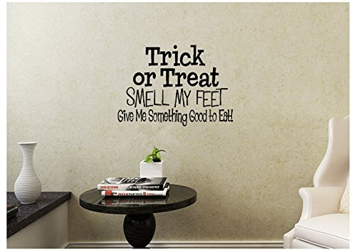 lafzimmer 24X14 Trick Or Treat Smell My Feet Give Me Something Good To Eat Halloween Song Candy Wall Decal Sticker Art Mural Home Decor Quote For Bedroom Living Room ()