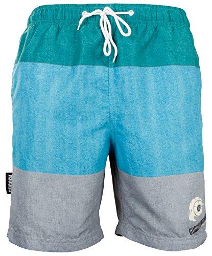 GUGGEN MOUNTAIN Herren Badeshorts Beachshorts Boardshorts Badehose mit Streifen *High Quality Print* Gruen-Grau