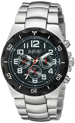 August-Steiner-Mens-Analog-Display-Swiss-Quartz-Black-Watch