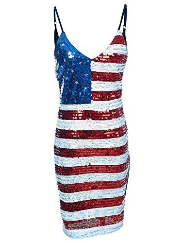 Anna-Kaci Frauen Rot Weiß Blau Sterne Streifen USA Flagge Pailletten Bleistift Lange Tank Top Mini (Kostüm Marine United States)
