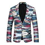Herren Modern Slim Fit Business Casual Blumenmuster Anzug Jacke Blazer (024 Schwarz,2XL)