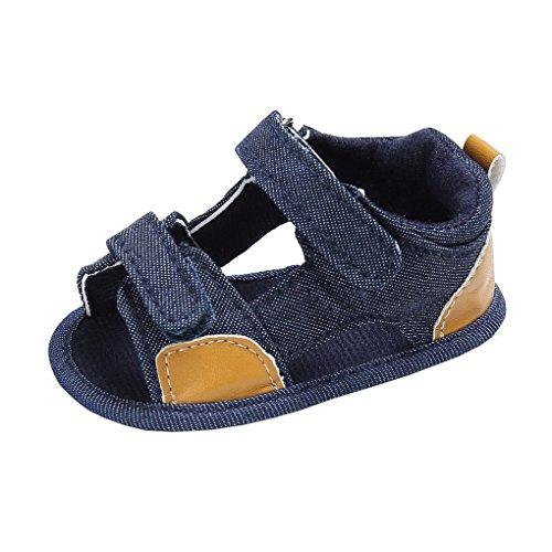 7a19c6d8394da Evedaily Bébé Garçon Fille Sandales Velcro Chaussures Premiers Pas Été en  Tissu Antidérapantes -Bleu Foncé