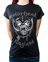 Motorhead T Shirt England Diamante Logo Official Womens Skinny Fit Black