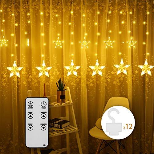 Idesion catene luminose stelle, 12 stelle, 108 luci, 8 modalità, per interni ed esterni,ip44 impermeabile, decorazione per natale, feste, bianco caldo [classe di efficienza energetica a++]