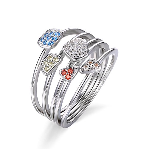 JewelryPalace Mode Mehrfarbig 4Pcs Zirkonia Stapelbarer Ring Sets Solide 925 Sterling Silber Größe 51 to 59
