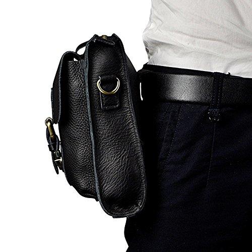 Genda 2Archer Mini Borse in Pelle Cross-body Bag Uomini Telefono Spalla Fanny (15cm * 8cm * 20 cm) Nero