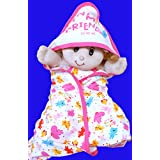 Gurukripa New Born Baby High Quality Extra Soft To Baby Delicate Skin Cartoon Print Hooded Housiry Chaddar Cum Odddna Wrapping /Wrapper Sheet Single Layer Baby Sleeping Bag Baby Cotton Sheet (Light Pink)
