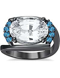 Silvernshine 4Ct Oval & Round Cut Sim Aquamarine Diamonds 18K Black Gold Plated Engagement Ring