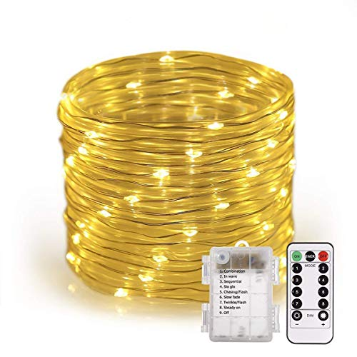 33 Fuß 100LED Wasserdichte Kupferlinie Lichter Batteriebetriebene String Lichter 8 Muster Lichterkette Garten, Hof, Zaun, Treppe, Hinterhof Dekoration,Warmwhite,100Lights