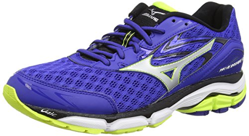 Mizuno Wave Inspire 12, Chaussures de Running Compétition homme Bleu - Blue (Surf the Web/Silver/Safety Yellow)