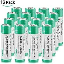 Batteriol AA Pilas Litio Lithium Lote de Pilas 1.5V 3000mAh No Recargable, Pack de 16