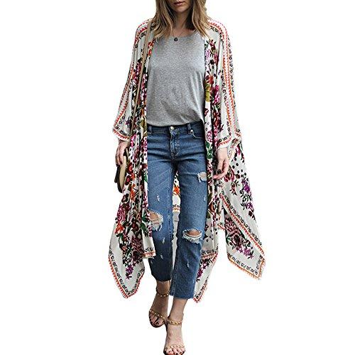 Romacci Damen Chiffon Kimono Cardigan Blumendruck Asymmetric Boho lose Oberbekleidung Bademode Bikini Vertuschung Weiß