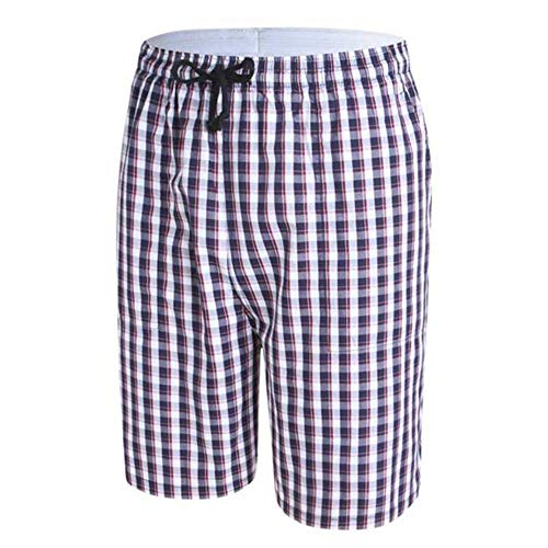 KZXCJ Herren Baumwolle Plaid Lounge Shorts Pyjama Bottoms Maroon Jogginghose Herren Short Denim Free City Straight Herren Light - Rot Plaid Lounge