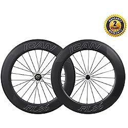 ICAN 700C de carbono carretera bicicleta ruedas 86mm Clincher Tubeless Ready ruedas de prueba de tiempo con Powerway R13Hub Sapim radios