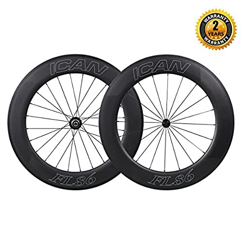 ICAN 700C Carbon Road Bike Wheelset 86mm Clincher Tubeless Ready Time Trial Wheels with Powerway R13 Hub Sapim