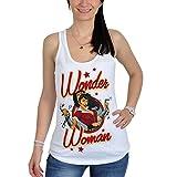 La Mujer Maravilla camiseta de tirantes de señora pin-up cómic color blanco - M