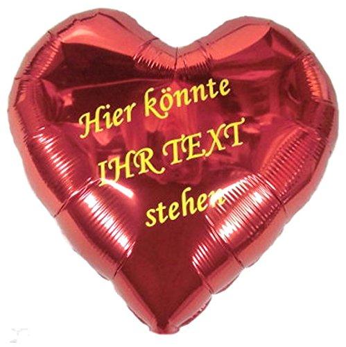 Folien-Herzballon mit Beschriftung, ca. 45 cm Ø, zweiseitig beschriftet/ohne Gasfüllung