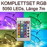 Set RGB 24er: LED Streifen Stripe 7m + Trafo + Controller IR 24 PCBw