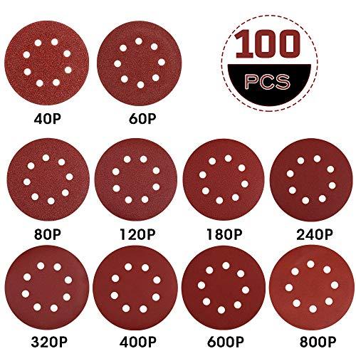 Rovtop Papel de Lija 100pcs -  Disco de Lija 40/60/80/120/180/240/320/400/600/800 Granos Surtidos 125mm Papeles de Lija Abrasivos con 8 Agujeros Cinta de Sujeción Durable para Lijadora Excéntrica,  Seco