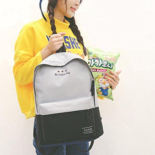 Taschen Canvas Fashion Rucksäcke Casual Rucksacks Teenager für Grau Schule Flada für Mädchen Buch 5ZtwdqTxq