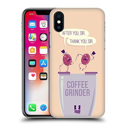 Head Case Designs Troppo Divertenti Chicchi Di Caffè Cover Retro Rigida per Apple iPhone X Macinacaffe