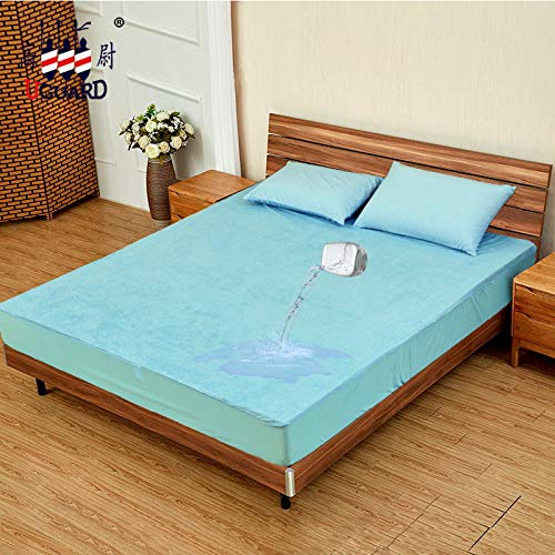 CD Wasserdichtes Bett Bambusfaser Frottee Anti-Benetzungs-Bettdecke Matratzenbezug Himmelblau Twin XL 99x203 + 36cm -