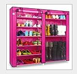 LF furniture shoe rack Schuhregal Multi-Layer-Kombination Schuhregal Sparsames Zuhause Schlafsaal Staubdichtes Tuch Schuh (Farbe : Rose rot)